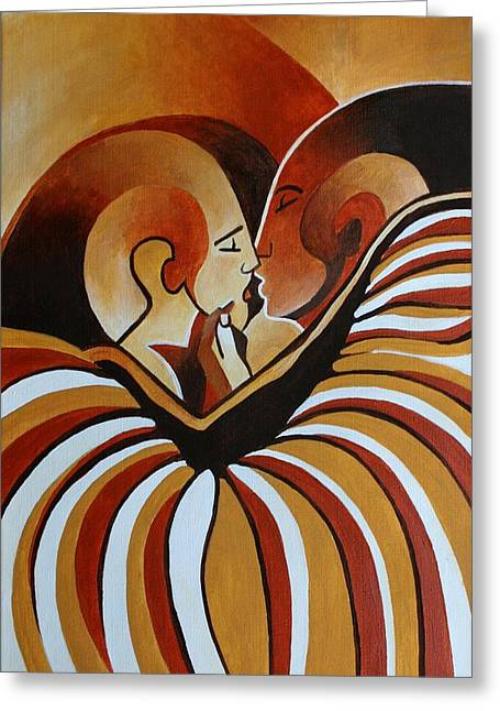 Greeting Card featuring the painting Touched By Africa I by Tracey Harrington-Simpson