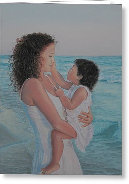 Realistic Pastels Greeting Cards - Touched by an Angel Greeting Card by Holly Kallie