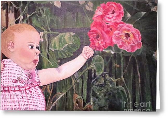 Touched By The Roses Painting Greeting Card by Kimberlee Baxter
