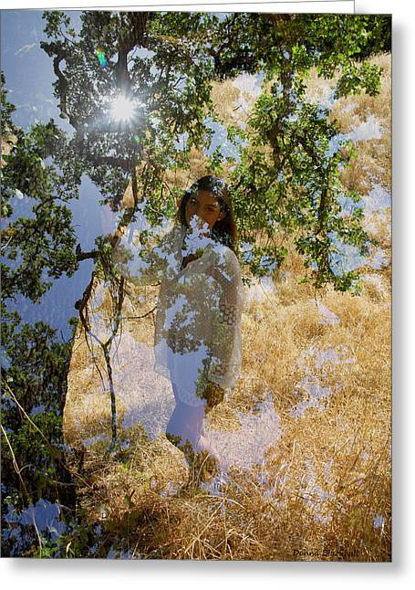 Touching Earth Greeting Card by Donna Blackhall