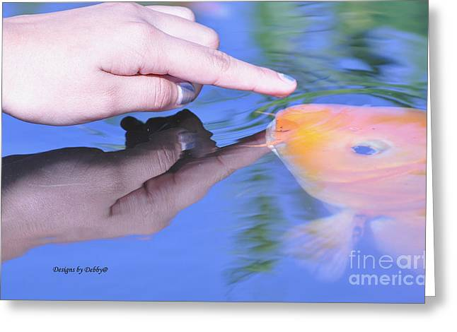 Touching The Koi.  Greeting Card by Debby Pueschel