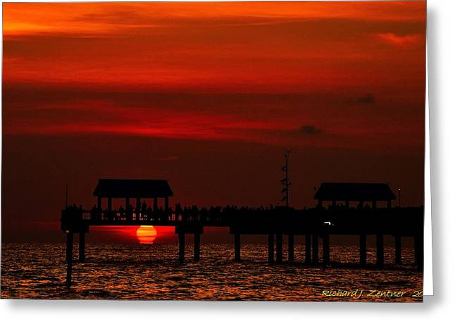 Greeting Card featuring the photograph Touching The Sunset by Richard Zentner