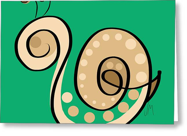 Thoughts And Colors Series Snail Greeting Card by Veronica Minozzi