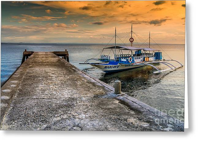 Tour Boat Sunset Greeting Card by Adrian Evans