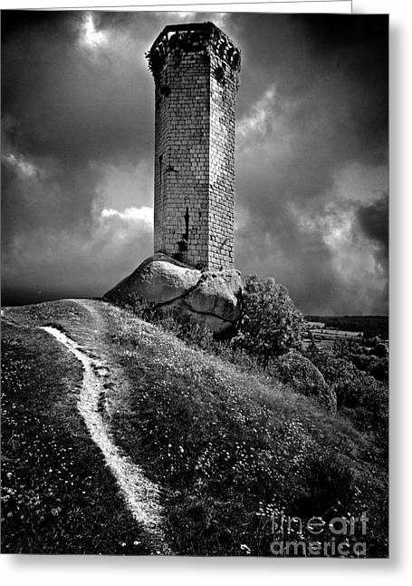 Tour De La Clauze Tower. Haute-loire Department. France Greeting Card by Bernard Jaubert