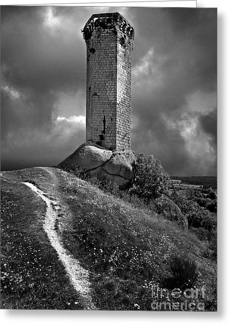 Tour De La Clauze Tower. Saugues. Haute-loire Department. Auvergne. France Greeting Card by Bernard Jaubert