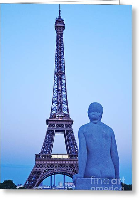 Tour Eiffel And Statue Greeting Card
