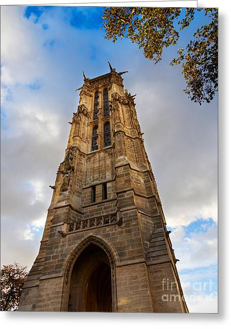 Tour St Jacques In Autumn Paris Greeting Card by Louise Heusinkveld