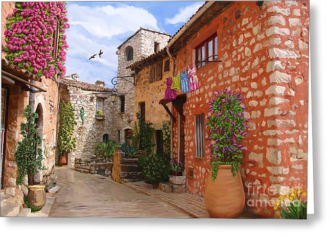 Greeting Card featuring the painting Tourettes Sur Loup France by Tim Gilliland