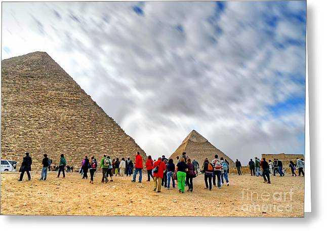 Tourism Fogh At Giza Pyramids  Greeting Card