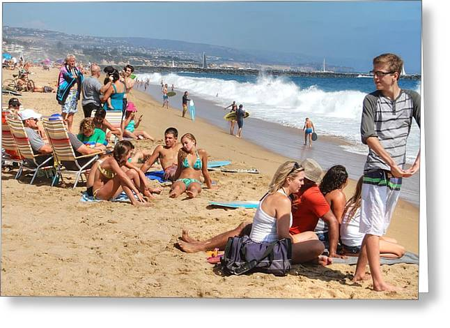 Tourist At Beach Greeting Card