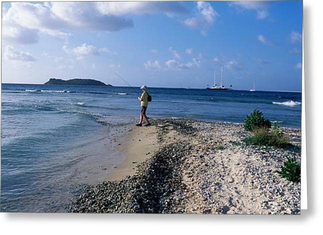 Tourist Fishing On The Beach, Sandy Greeting Card