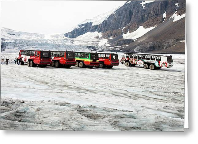 Tourist Ice Buggies On Athabasca Glacier Greeting Card