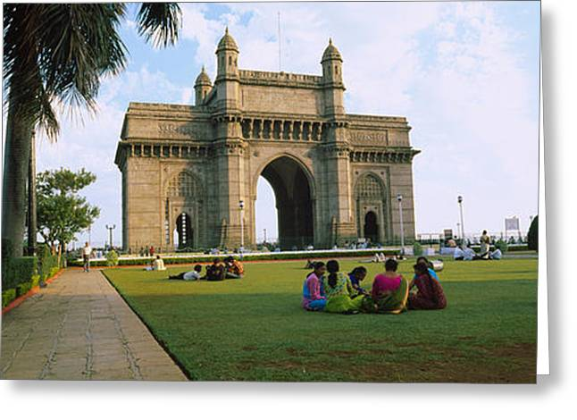 Tourist In Front Of A Monument, Gateway Greeting Card by Panoramic Images