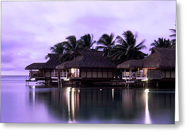Tourist Resort At Dusk, Tahiti, French Greeting Card by Panoramic Images