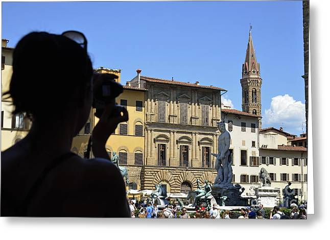 Tourist Taking Pictures Of Florence Greeting Card by Sami Sarkis