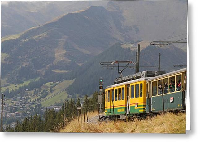 Tourist Train Passing Through Hills Greeting Card
