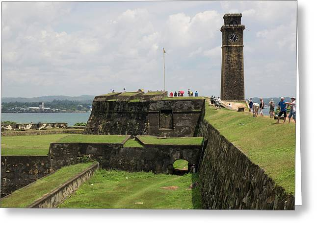 Tourists Along Rampart Of Galle Fort Greeting Card