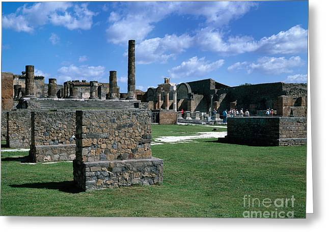 Tourists Amid Pompeii Ruins Greeting Card by Rafael Macia