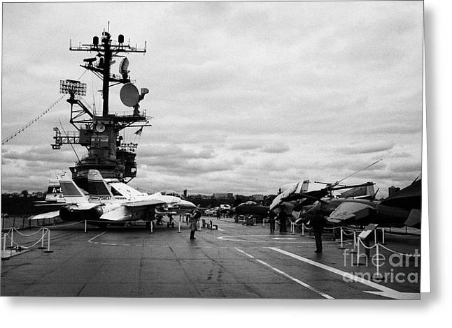 tourists and Aircraft on the flight deck of the USS Intrepid at the Intrepid Sea Air Space Museum  Greeting Card