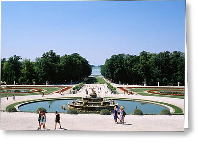 Tourists Around A Fountain, Versailles Greeting Card by Panoramic Images