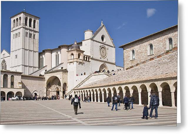 Tourists At A Church, Basilica Of San Greeting Card by Panoramic Images