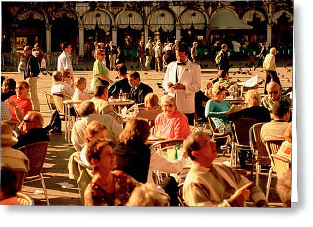 Tourists At A Sidewalk Cafe, Venice Greeting Card by Panoramic Images