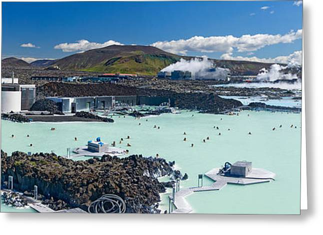 Tourists At A Spa Lagoon, Blue Lagoon Greeting Card by Panoramic Images