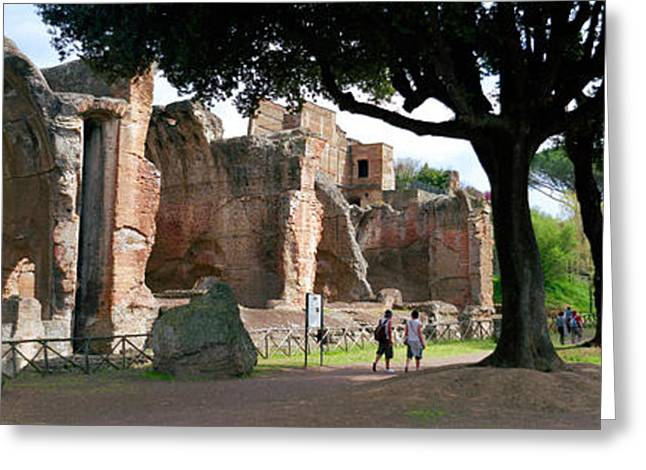Tourists At A Villa, Hadrians Villa Greeting Card by Panoramic Images