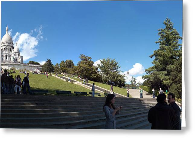 Tourists At Basilica, Basilique Du Greeting Card by Panoramic Images