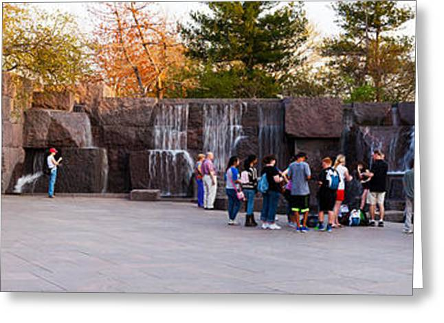 Tourists At Franklin Delano Roosevelt Greeting Card by Panoramic Images