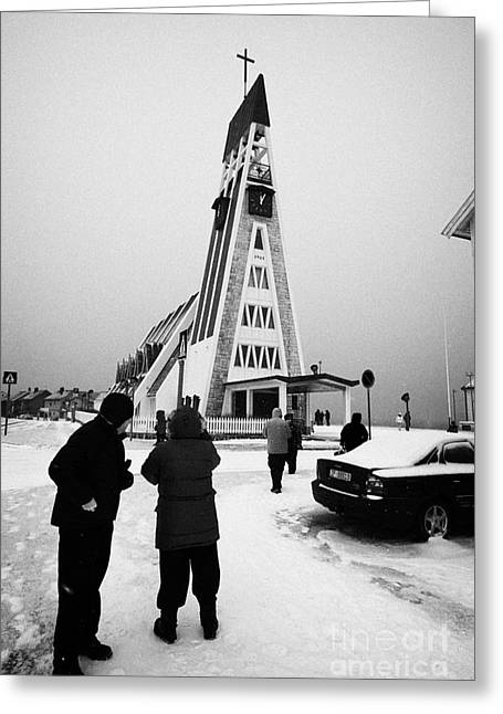 Tourists At Hammerfest Church Finnmark Norway Europe Greeting Card by Joe Fox