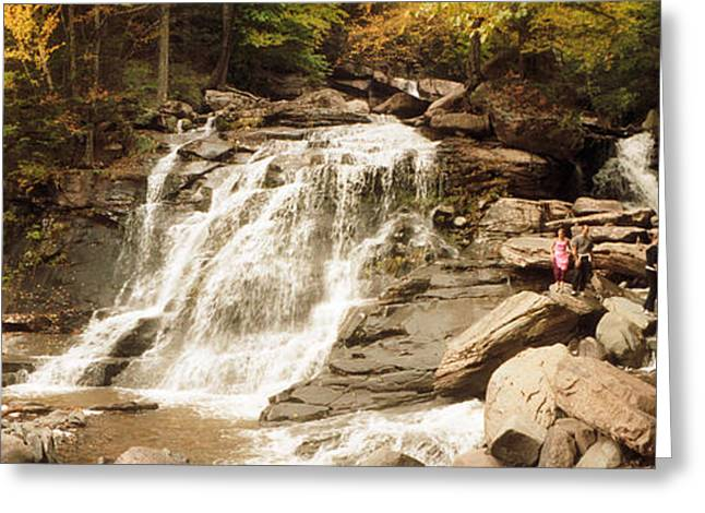 Tourists At Kaaterskill Falls, Catskill Greeting Card by Panoramic Images
