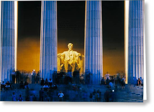 Tourists At Lincoln Memorial Greeting Card by Panoramic Images