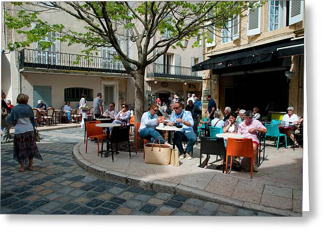 Tourists At Sidewalk Cafes, Lourmarin Greeting Card by Panoramic Images