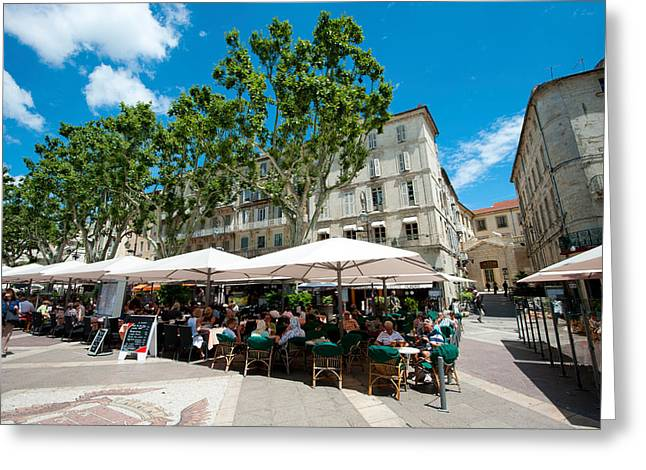 Tourists At Sidewalk Cafes, Place De Greeting Card