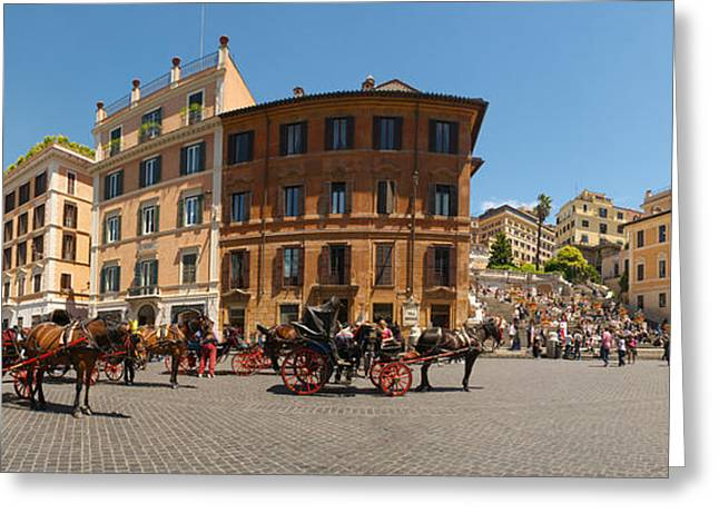 Tourists At Spanish Steps, Piazza Di Greeting Card by Panoramic Images
