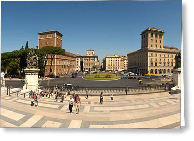 Tourists At Town Square, Palazzo Greeting Card by Panoramic Images