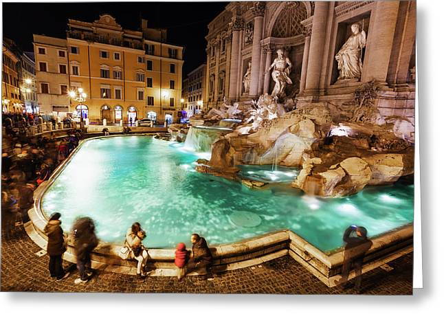 Tourists At Trevi Fountain At Nighttime Greeting Card by Reynold Mainse