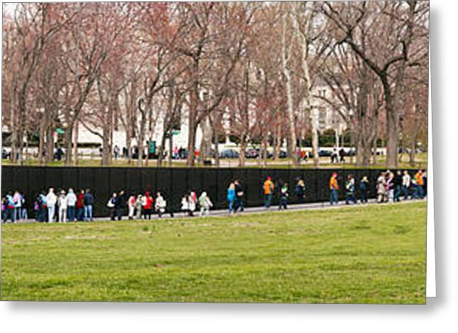 Tourists At Vietnam Veterans Memorial Greeting Card by Panoramic Images