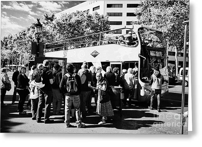 Tourists Boarding Open Top City Tours Barcelona With Begger Catalonia Spain Greeting Card by Joe Fox