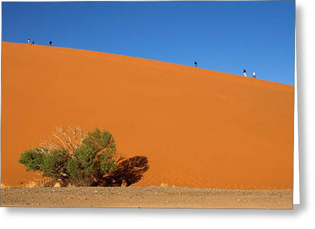 Tourists Climbing Up A Sand Dune, Dune Greeting Card by Panoramic Images