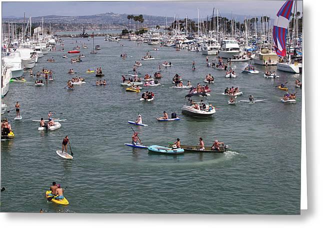 Tourists Enjoying In The Ocean, Dana Greeting Card