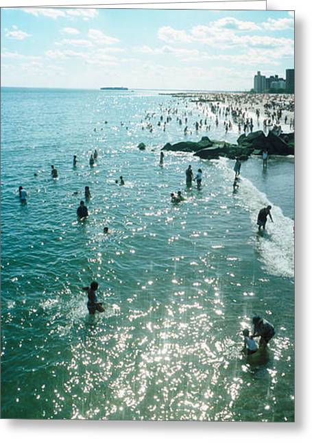 Tourists Enjoying On The Beach At Coney Greeting Card by Panoramic Images