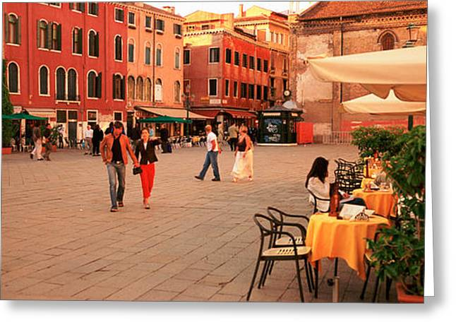Tourists In A City, Venice, Italy Greeting Card