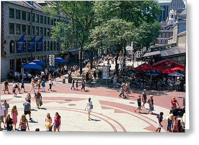 Tourists In A Market, Faneuil Hall Greeting Card by Panoramic Images