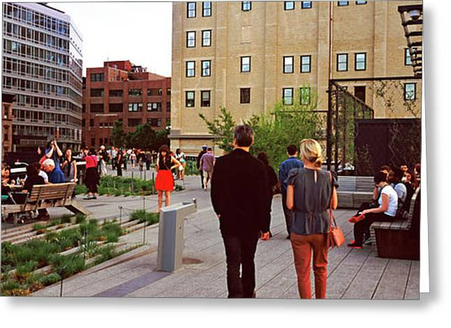 Tourists In A Park, High Line Park Greeting Card by Panoramic Images