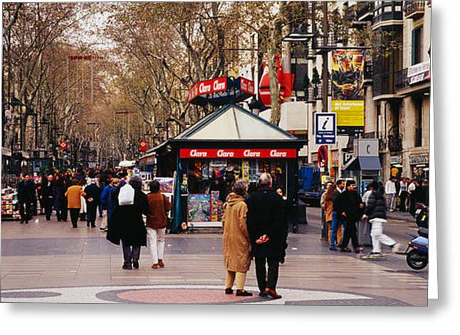 Tourists In A Street, Barcelona, Spain Greeting Card