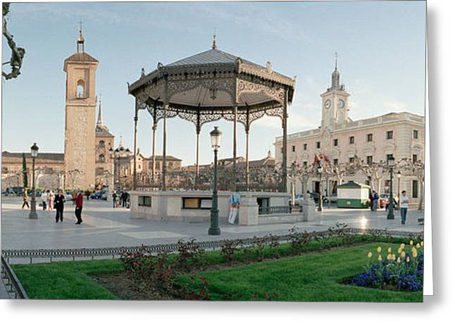 Tourists In Front Of Buildings, Plaza Greeting Card by Panoramic Images