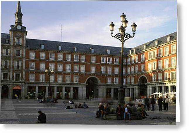 Tourists In The Courtyard Greeting Card by Panoramic Images